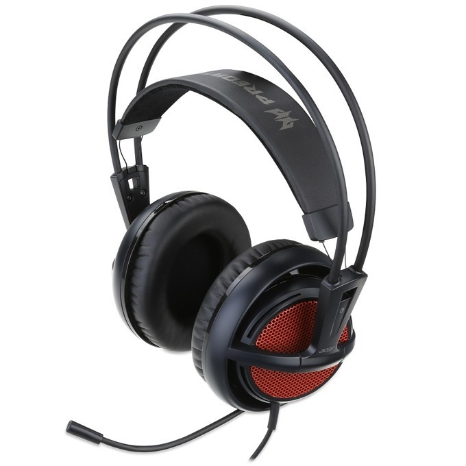 Слушалки Acer Predator Gaming Headset (NP.HDS1A.001), геймърски, микрофон, черни с червена сърцевина image