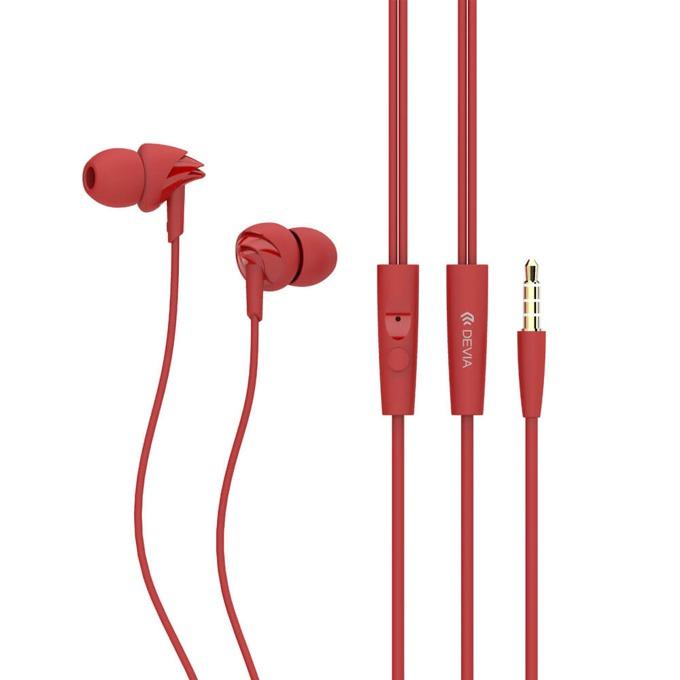 """Слушалки Devia Ripple D1, микрофон, тип """"тапи"""", червени image"""