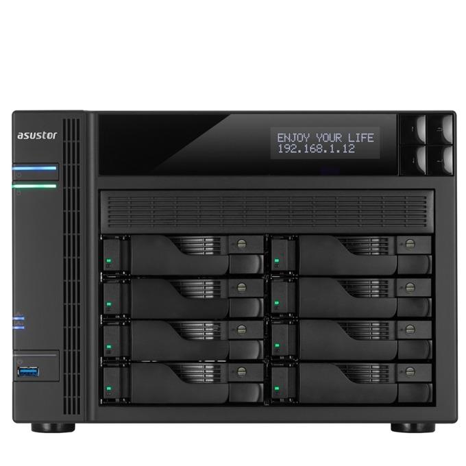"""Asustor AS6208T, четириядрен Intel Celeron 1.6/2.24GHz, без твърд диск(8x SATA3/2.5""""/3.5""""/SSD), 2GB DDR3L RAM, 4x Lan1000, 1x HDMI, 3x USB 3.0, 2x USB 2.0, 2x eSATA image"""