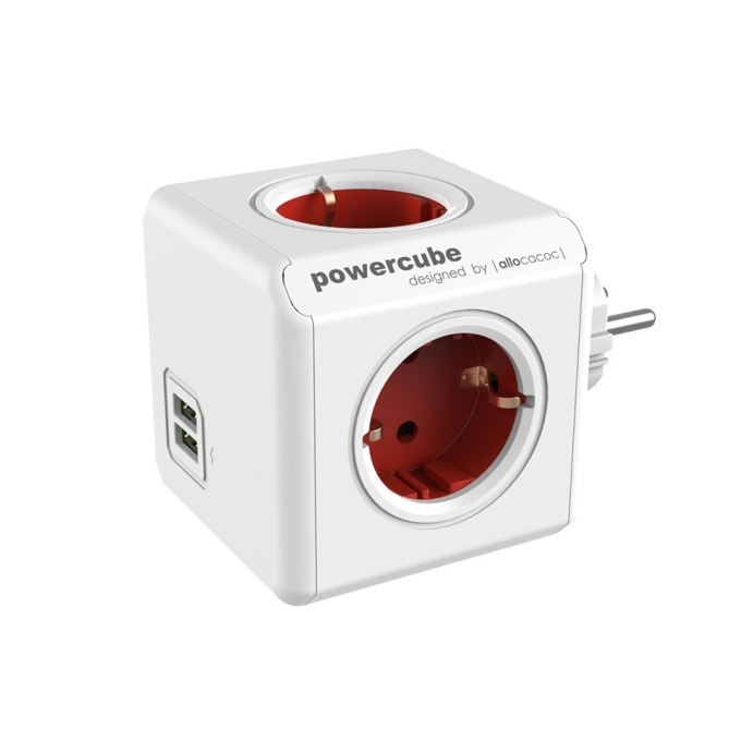 Разклонител Allocacoc Power Cube 1202RD, 4 гнезда, 2x USB, защита от деца, бял/червен image