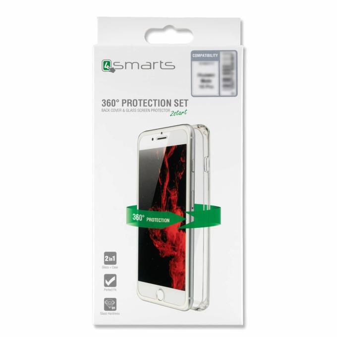 Калъф за Huawei P20 lite, силикон, 4smarts 360° Protection Set, с протектор, прозрачен image