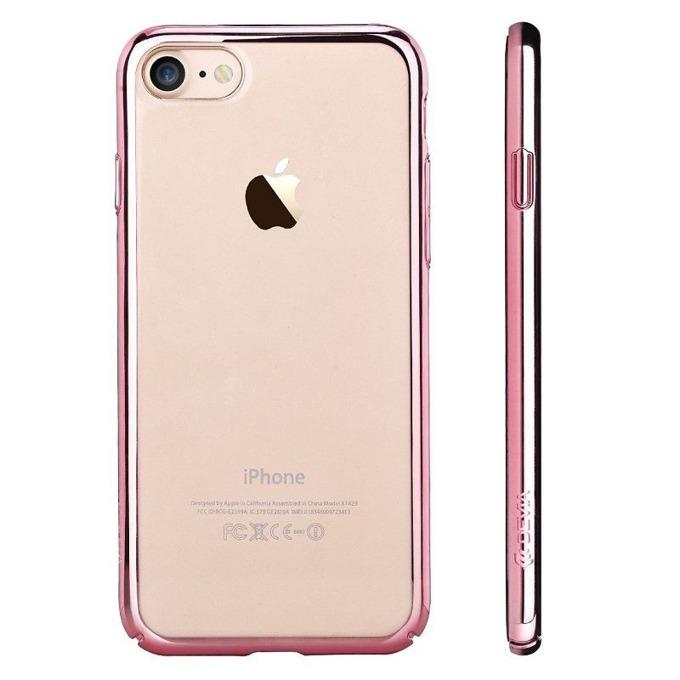 Калъф за Apple iPhone 7+, страничен протектор с гръб, поликарбонат, Devia Glimmer, златист/розов image