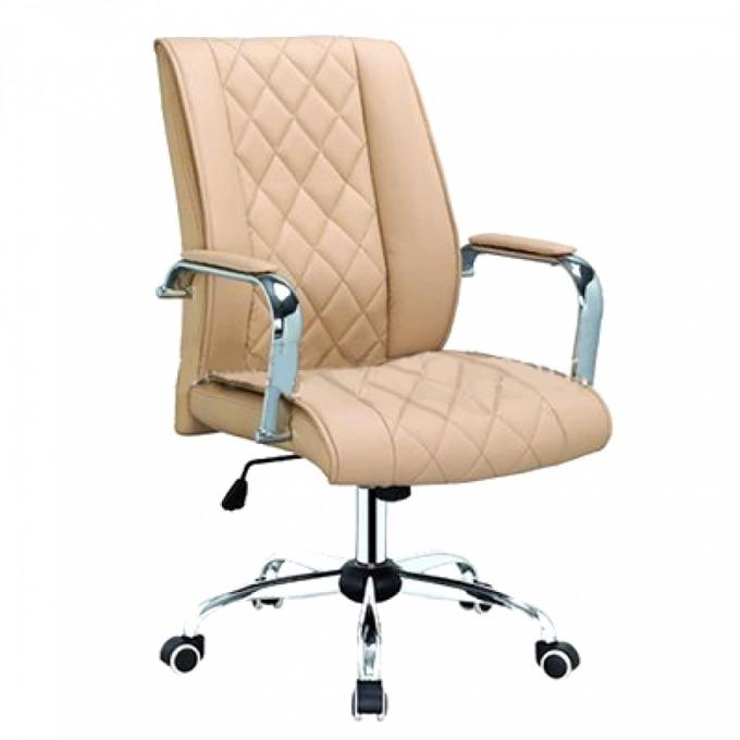 Директорски стол OKOffice Makao LB, хромирана база, еко кожа, до 130 кг, бежов image