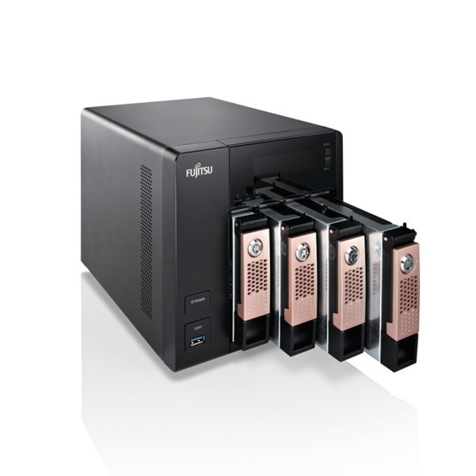 Fujitsu Celvin NAS Q805 (VFY:CQ805XX040E1), четириядрен Bay Trail Intel® Celeron® J1900 2.0/2.42GHz, 2 GB DDR3L, 16GB (4x 4TB) HDD SATA, 4x RJ-45, HDMI, 3x USB 3.0, Tower image