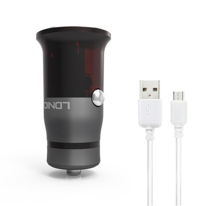 Зарядно устройство за кола LDNIO C304Q, от автомобилна запалка към micro USB (м), 12V, 1.5A, черен image