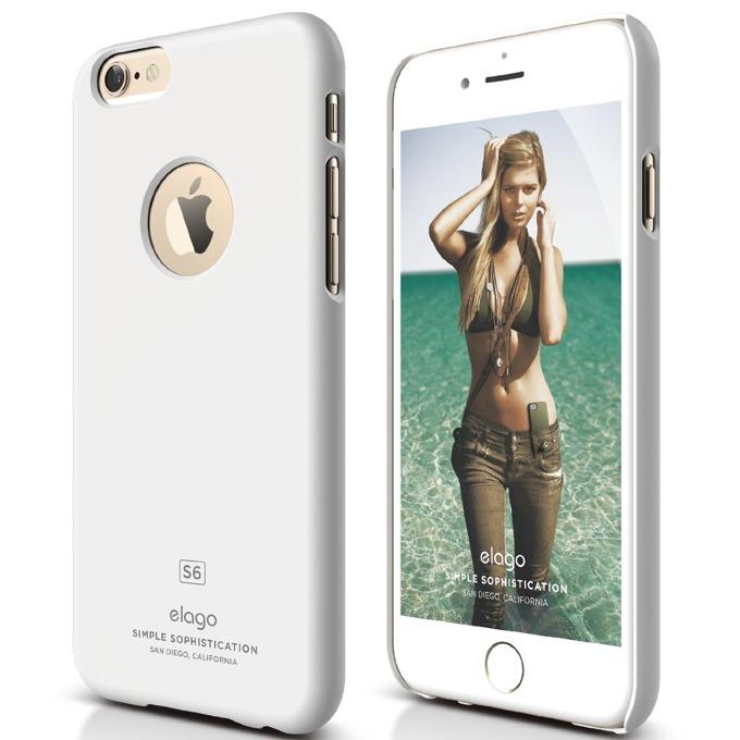 Поликарбонатов протектор Elago S6 Slim Fit за iPhone 6, бял, HD покритие  image