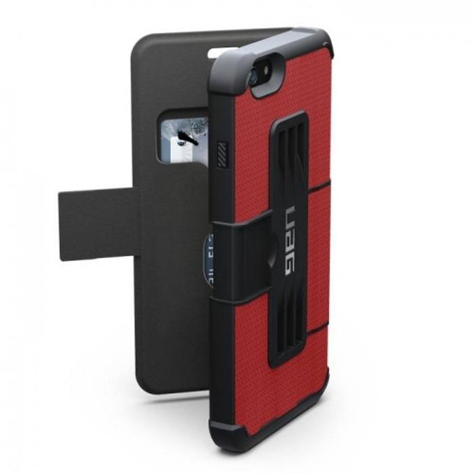Хибриден кейс тип портфейл Urban Armor Scout Folio, iPhone 6/6S, удароустойчив, черен-червен image