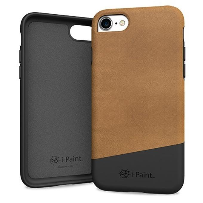 Калъф за Apple iPhone 8, еко кожа, iPaint Brown Leather 171002, кафяв image