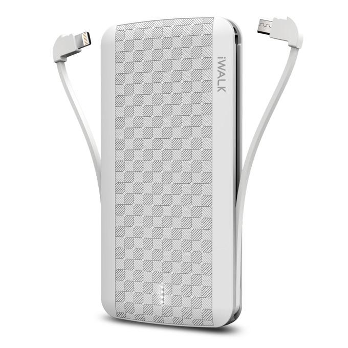 Външна батерия /power bank/ iWalk Scorpion, 8000mAh, USB/Lightning/Micro USB вградени кабели, 5V, 2.4A, сребриста image