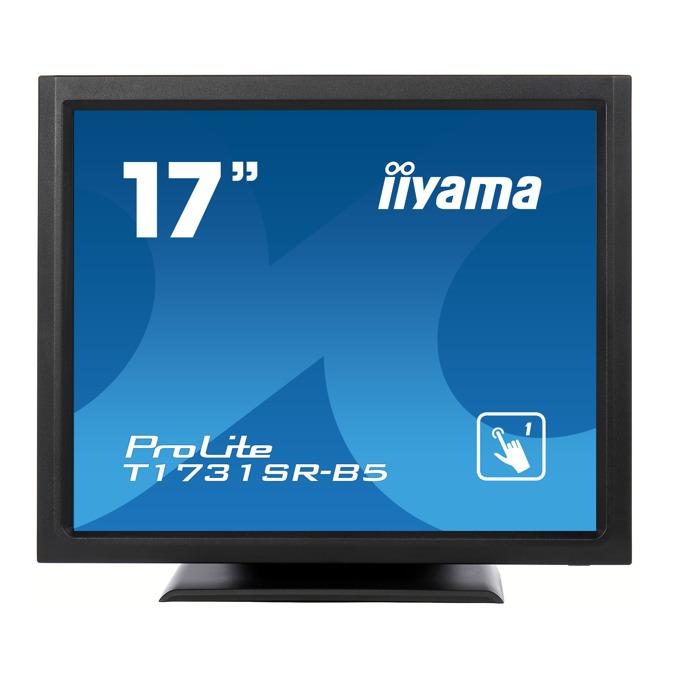 """Монитор Iiyama PROLITE T1731SR-B5, 17"""" (43.18 cm) TN сензорен панел, SXGA, 5ms, 1000:1, 250 cd/m2, Display Port, HDMI, VGA, IP54 защита image"""