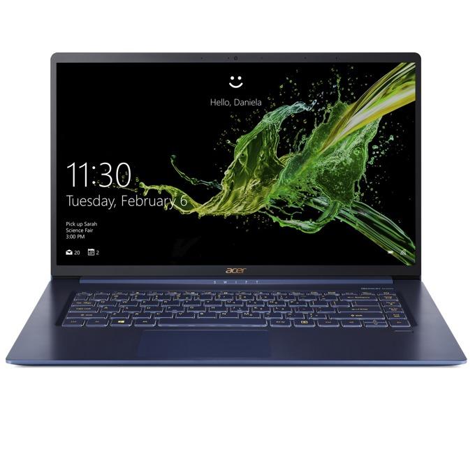 "Лаптоп Acer Swift 5 (SF515-51T-75M8)(син), четириядрен Kaby Lake R Intel Core i7-8565U 1.8/4.6 GHz, 15.6""(39.62cm) Full HD IPS multi-touch display, (HDMI), 16GB, 512GB SSD, 1x USB 3.1 Type-C, Windows 10 image"