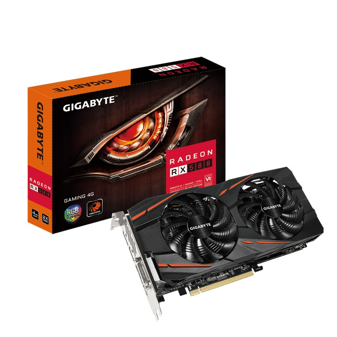 Видео карта AMD Radeon RX 580, 4GB, Gigabyte GV-RX580GAMING-4GD, PCI-E 3.0, GDDR5, 256-bit, DisplayPort, HDMI, DVI image