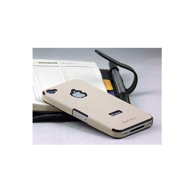 Страничен протектор HardCE iMAT II, бежов, кожен (естествена кожа), за iPhone 4/4S + скрийн протектор и кърпичка за почистване image