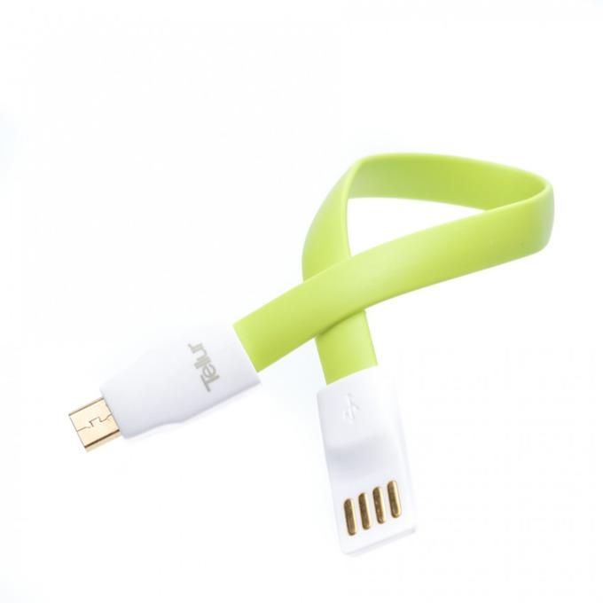 Кабел Tellur TLL155081, от USB А(м) към USB Micro B(м), 0.2m, зелен, магнитен image