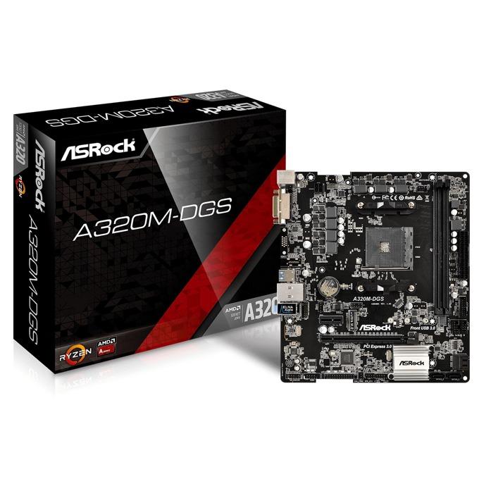 Дънна платка ASRock A320M-DGS,AMD A320, AM4, DDR4, PCI-E(DVI-D), 4x SATA 6Gb/s, 1x Ultra M.2 Socket, 4x USB 3.0, microATX image