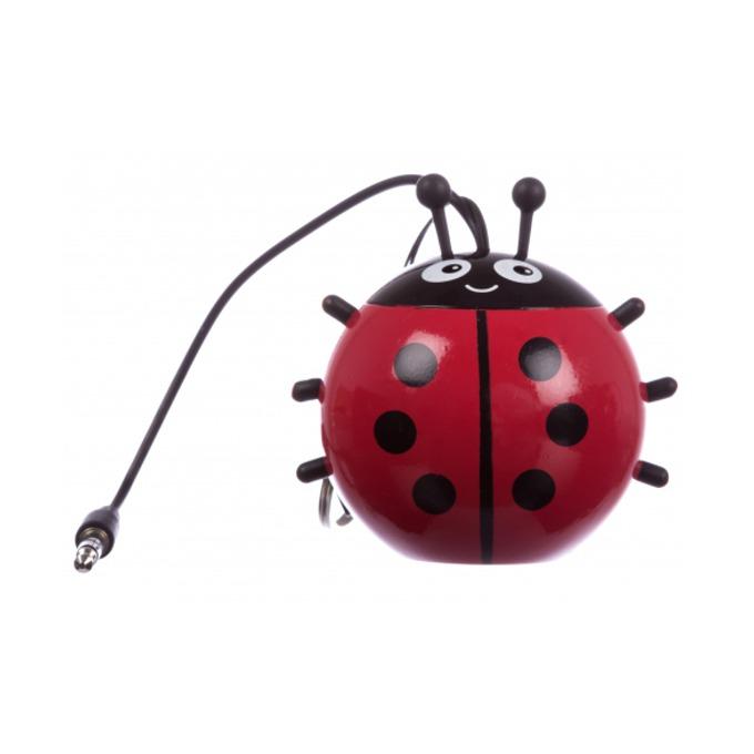 Тонколона KitSound Mini Buddy LadyBird, 1.0, AUX, червена, преносима, вградена Li-Ion батерия image