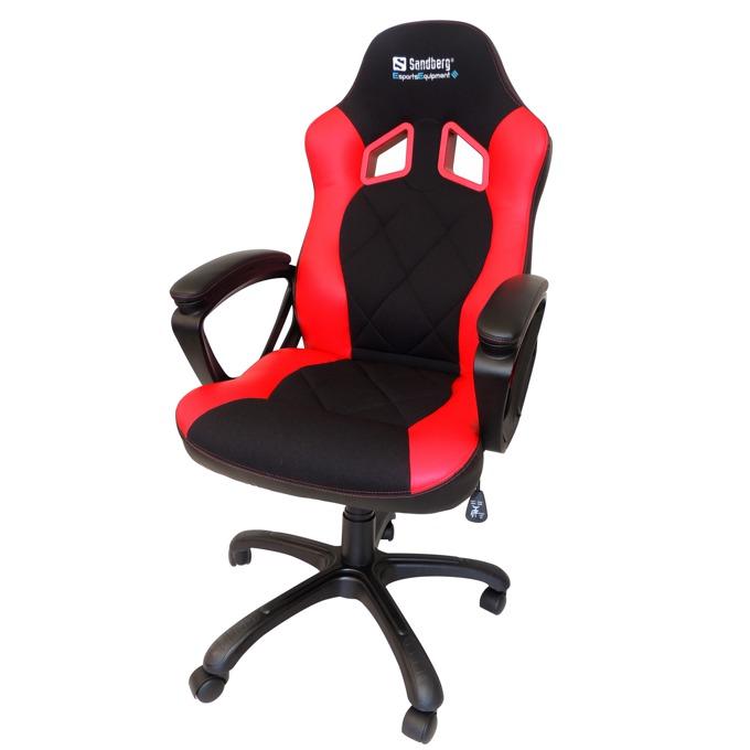 Геймърски стол Sandberg Warrior, черно-червен image