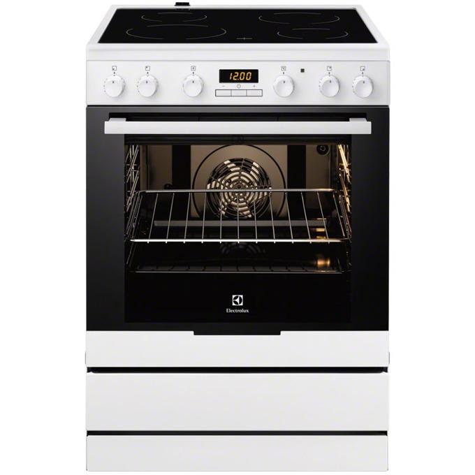 Готварска печка със стъклокерамичен плот Electrolux EKC6430AOW, клас А, 74 л, обем, 4 нагревателни зони, 8 функции на фурната, бяла  image