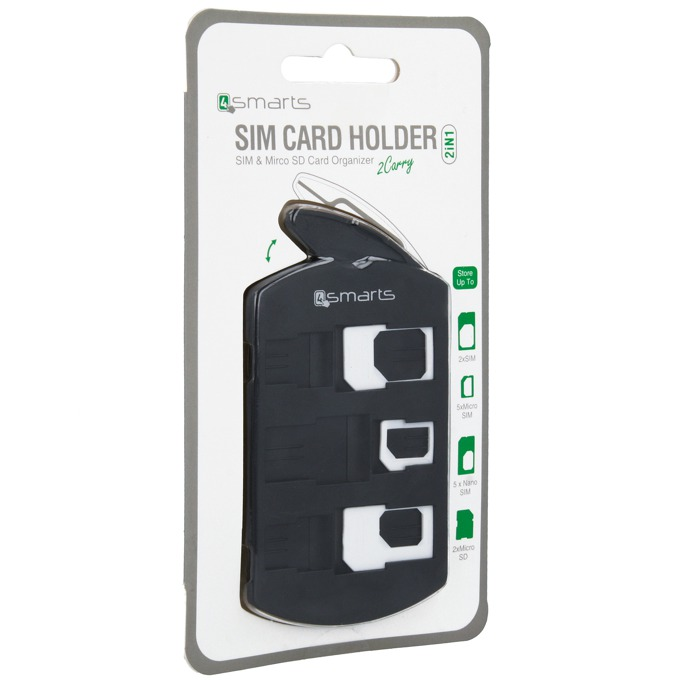 Адаптери и органайзер 4smarts 2in1 SIM Card Holder + Nano/Micro Sim Adapter Set, черен image