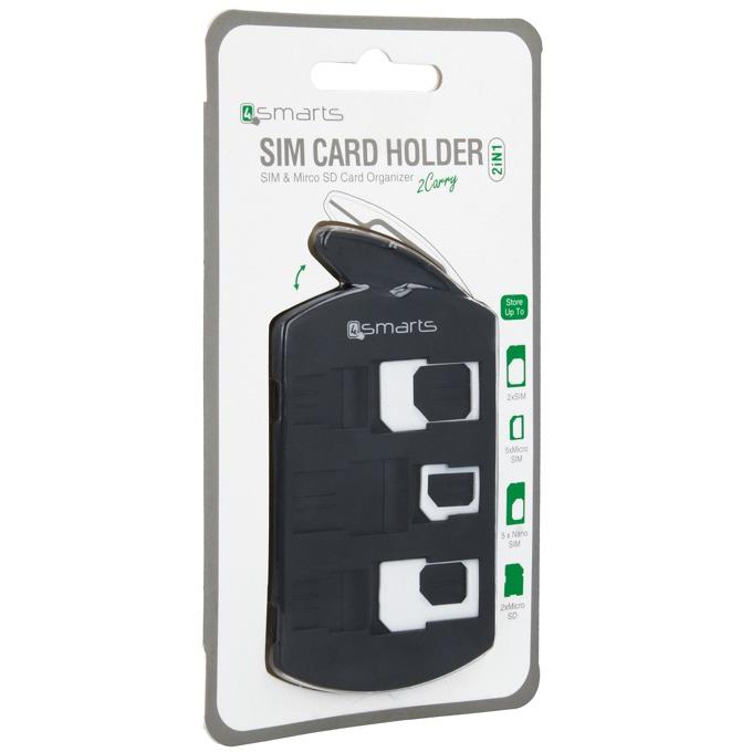 Адаптери и органайзер 4smarts 2in1 SIM Card Holder + Nano/Micro Sim Adapter Set, черен image