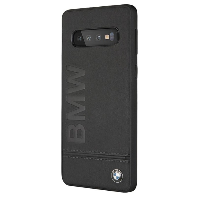 Калъф за Samsung Galaxy S10 Plus, естествена кожа, BMW Signature Genuine Leather Soft Case BMHCS10PLLSB, черен image