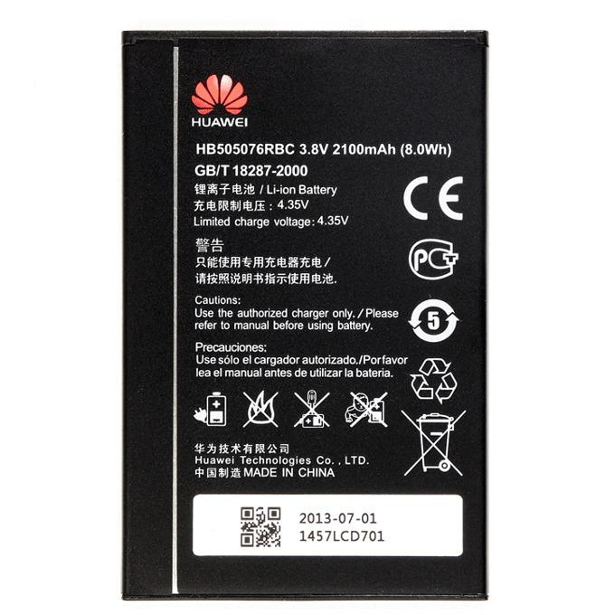 Батерия (оригинална) Huawei HB505076RBC за Huawei Ascend G700, Ascend G710 (A199), Ascend G716, Ascend G606, Ascend G610, Ascend G610T, C8815, Y618-T00, 2100mAh/3.8V, Bulk image