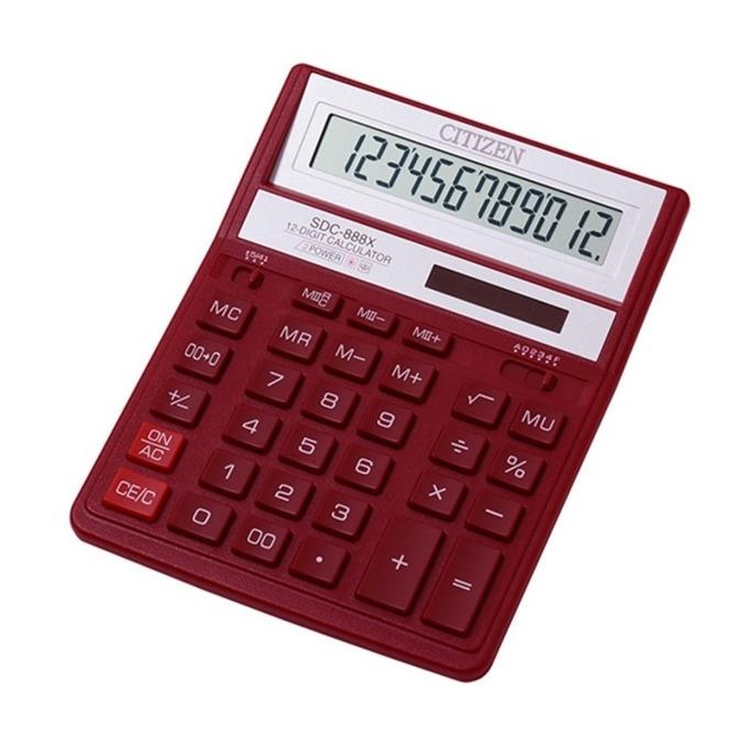 Калкулатор Citizen SDC888XRD, LCD дисплей, 12 цифрен, червен image