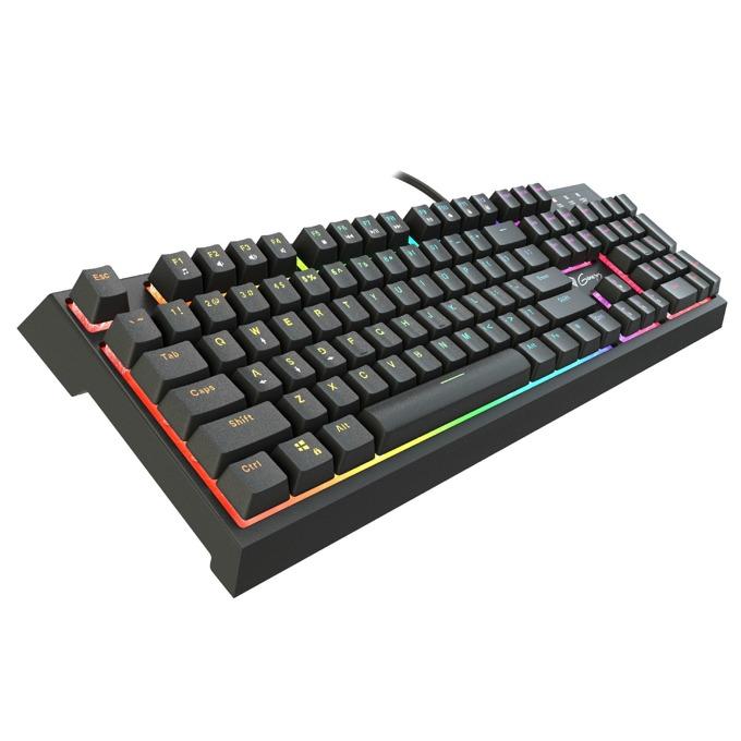 Клавиатура Genesis THOR 200 RGB, гейминг, хибридни механични суичове, високопрофилни клавиши, RGB подсветка, вграден USB/Audio хъб, черна, USB image