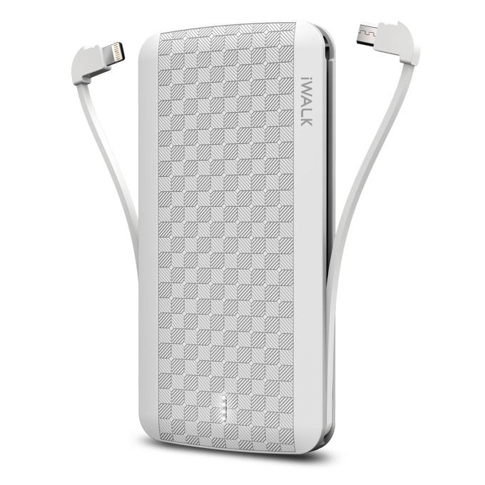 Външна батерия /power bank/ iWalk Scorpion, 8000mAh, USB/Lightning/Micro USB вградени кабели, 5V, 2.4A, бяла image