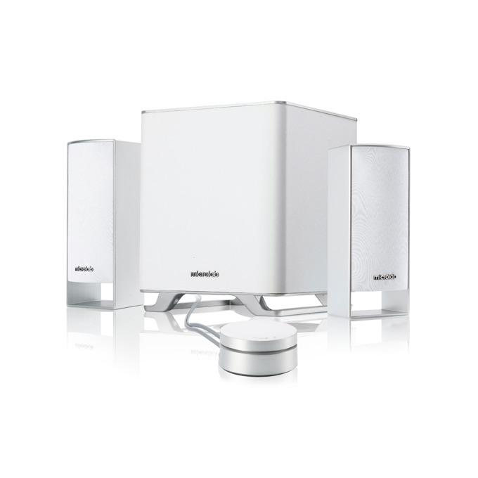 Тонколони Microlab M-600 BT, 2.1, 40W(16W + 2x 12W), Bluetooth 3.0, жично дистанционно, бели image