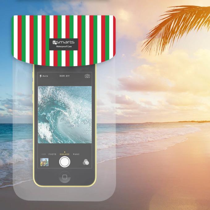 "Калъф за телефони до 6"", джоб, силиконов, 4Smarts Copacabana Italy, водоустойчив, прозрачен image"
