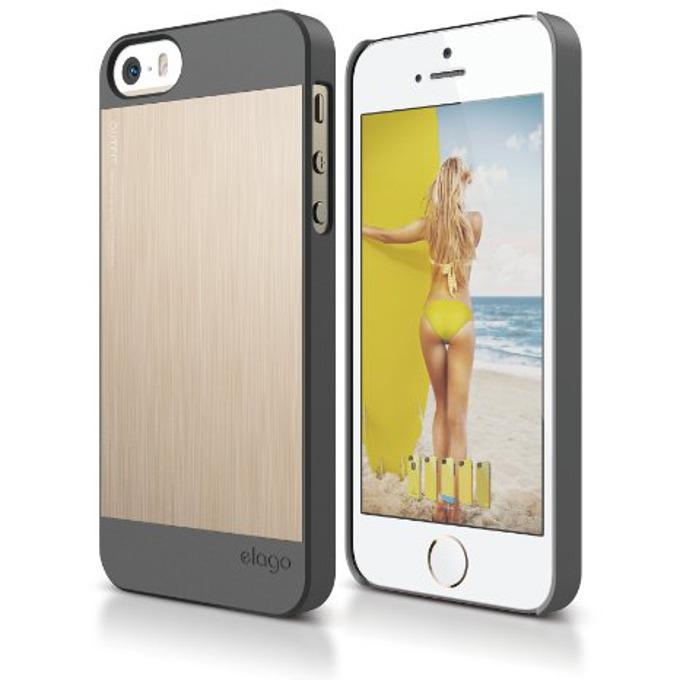 Поликарбонатов протектор и HD покритие Elago S5 Outfit Matrix за iPhone 5 и iPhone 5S, сив-златист image