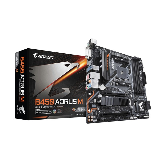 Дънна платка Gigabyte B450 AORUS M 1.0, B450, АМ4, DDR4, PCI-E, (DVI-D&HDMI), CrossFire, 6x SATA 6Gb/s, 1x M.2 socket, 2x USB 3.1 Gen2, Micro ATX image