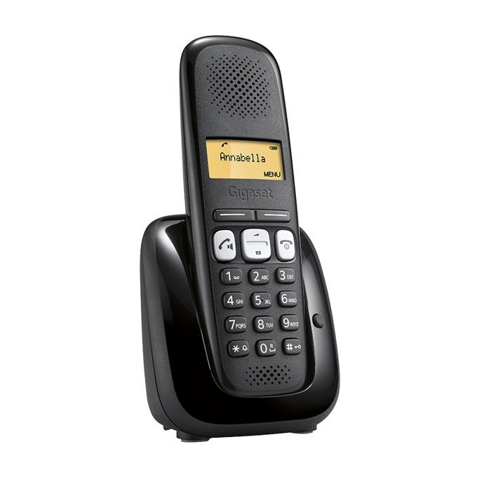 Безжичен телефон Gigaset A 250, 70х8 черно-бял LCD дисплей, вътрешен/външен обхват 300/50м, монтаж на стена, до 4 слушалки към базата, индикатор за съобщения, черен image