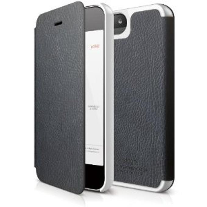 Калъф за iPhone 5, iPhone 5S, Flip cover, кожа, Elago S5 Leather Flip Case, HD покритие, тъмносин image