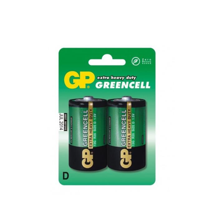 Батерия цинкова GP Greencell R20, 1.5V, 2 бр. image