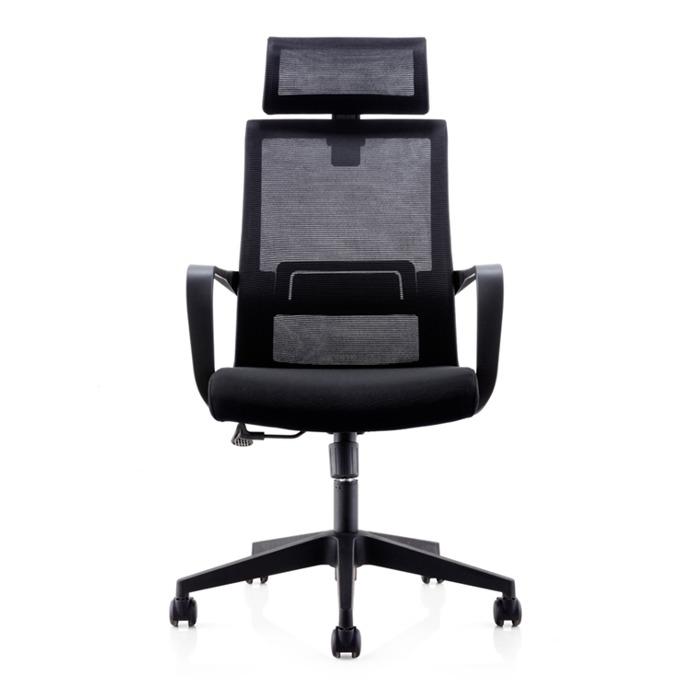 Директорски стол RFG Smart HB, дамаска и меш, черна седалка, черна облегалка image