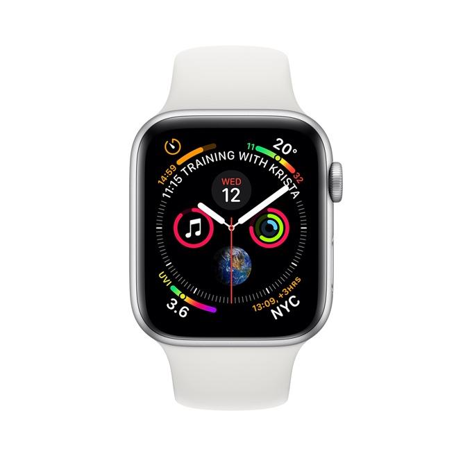 Смарт часовник Apple Watch S4 44mm, OLED дисплей, водоустойчив, силиконова каишка, бял image