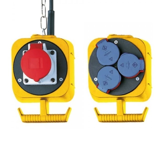 Разклонител Brennenstuhl Energy CEE Energy Cube, 1+3 230 V, безопасност с самозатварящи се капаци срещу прах и мръсотия, 5 m, жълт image
