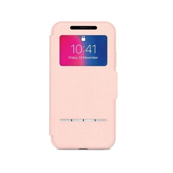 Калъф Apple iPhone X, отваряем с прозорче, термополиуретан, Moshi SenseCover 99MO072309, розов image