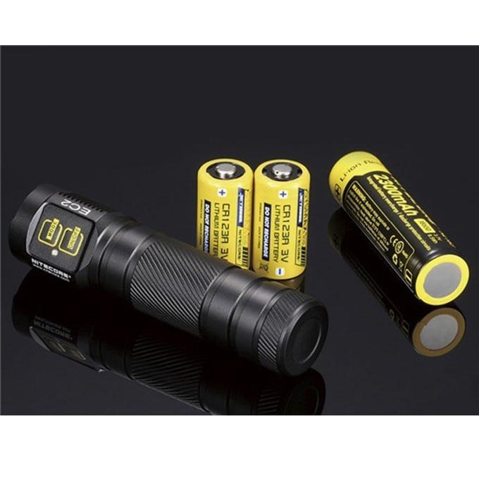 Фенер Nitecore EC2, 1x 18650/2x CR123/2x RCR123 батерии, 320 lumens, удароустойчив, водоустойчив, джобен, черен image
