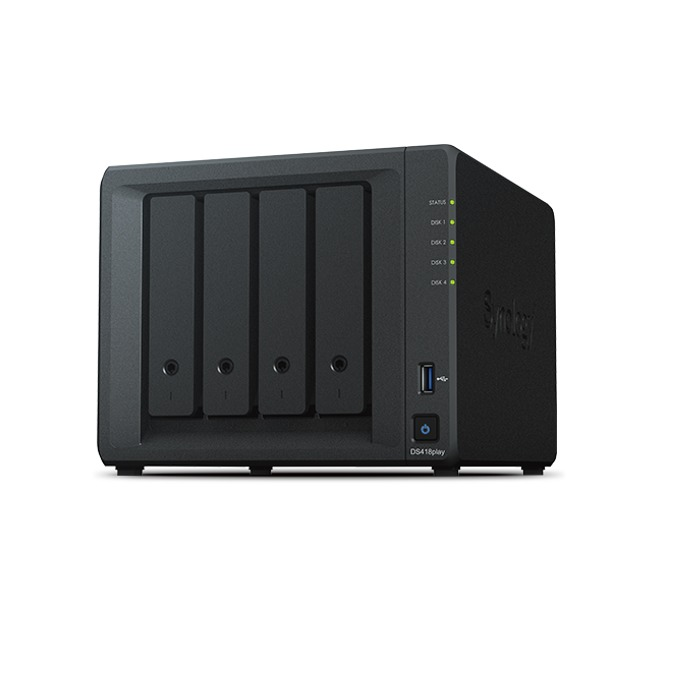 "Мрежови диск (NAS) Synology DiskStation DS418play, двуядрен Intel Celeron J3355 2.0/2.5GHz, без твърд диск(4x 2.5/3.5"" HDD/SSD), 2GB DDR3L, 2x LAN10/100/1000, 2x USB 3.0 image"