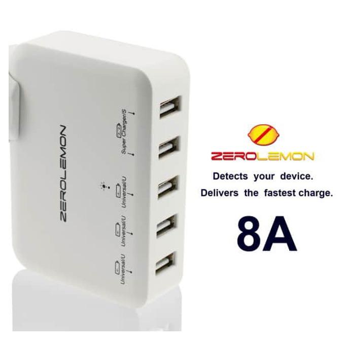 Зарядно устройство ZeroLemon 5x USB A(ж) White