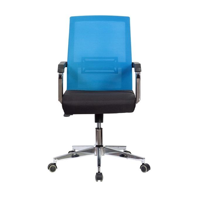 Работен стол RFG Roma W, дамаска и меш, черна седалка, светлосиня облегалка image
