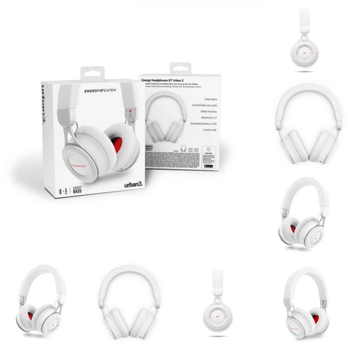 Слушалки Energy Sistem Headphones URBAN 3, безжични/жични, микрофон, Bluetooth, до 13 часа с едно зареждане, бели image