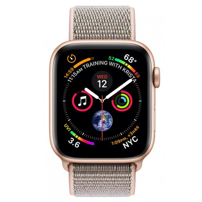 Смарт часовник Apple Watch S4 40mm, OLED дисплей, водоустойчив, спортна каишка, розов image