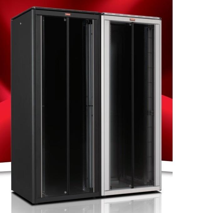 """Комуникационен шкаф Lande LN-FS42U6010-BL-251, 19"""", 42U, 600 x 1000 мм, стъклена врата, черен image"""