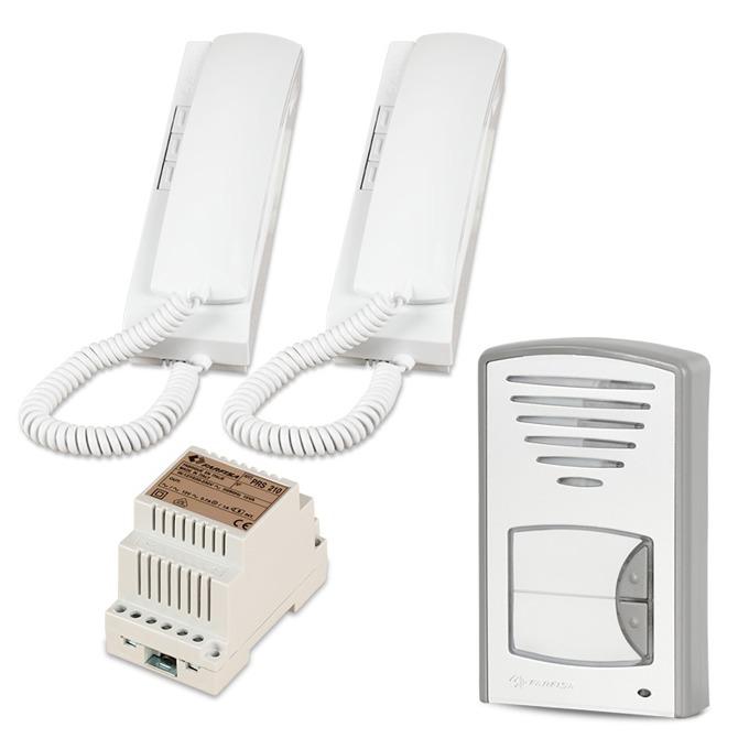 Комплект еднофамилна аудиодомофонна система Farfisa 2CKSD, двуабонатна, за вграждане, двужилен кабел, бяла image
