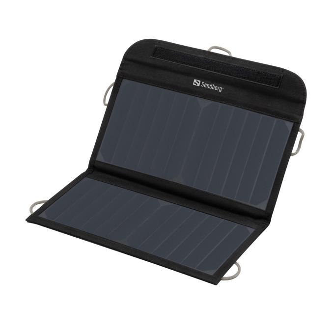 Соларен панел за зареждане Sandberg Foldable Solar Charger 13W, към 2x USB, 5V, 2.1A, черно image
