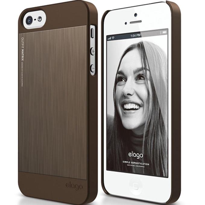 Алуминиев протектор Elago S5 Outfit Matrix за iPhone 5 и iPhone 5S, шоколад image